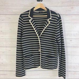 Talbots Navy/Cream Striped Knit Blazer Jacket Sz L